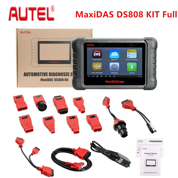 Original AUTEL MaxiDAS DS808 Full Set KIT Tablet Diagnostic Tool Support Injector and Key Coding Better Than Maxidas DS708
