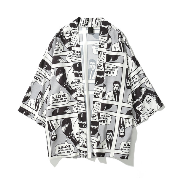 2019 Spring Summer Japanese Comic cartoon Men Printed Oversized Kimono Cardigan Jackets Hip Hop Streetwear 3/4 Sleeve coats