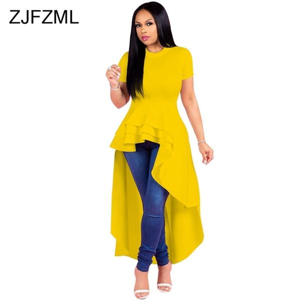 Sexy Plus Size Irregular Maxi Party Dress Women Multilayer Ruffle Front Short Back Long Dress Summer Short Sleeve Big Size Dress Y19073101