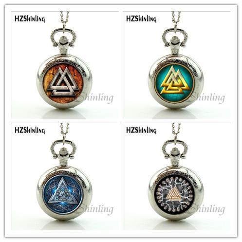Neue Ankunfts-Weinlese Valknut Viking Norses Dreieck-Muster-Taschen-Uhr-Halskette Kunst-Foto-Anhänger Fob-Ketten-bestes Geschenk