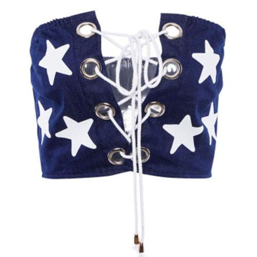 Kadın Lady Yıldız Baskılı Tie Up Bob Tüp Üst Yelek Wrap Göğüs Sutyen Kapak Wrap Bandeau Cami Kaşkorse Gömlek Kırpma Üst Kadın Giyim