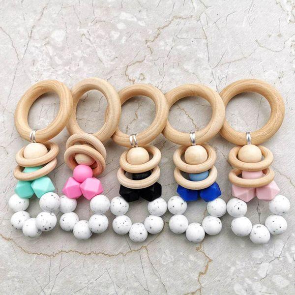 Baby pram toy Wooden Bell Stick Shaker Rattles newborn Pram Handle Baby Gift newborn toy A8339