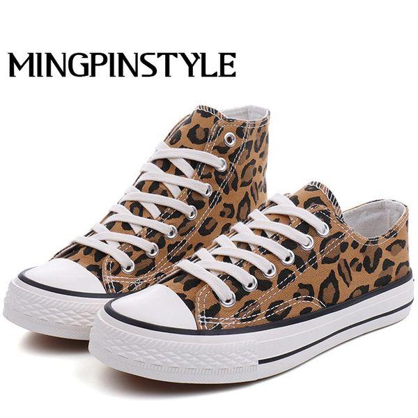 2019 zapatos de lona de las mujeres de moda de impresión de leopardo de las mujeres vulcanizadas zapatos con cordones ocasionales de alta superior mujer pisos zapatillas de deporte B066