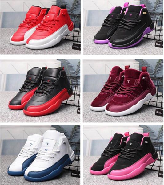 Niños 12 Zapatos Zapatos de baloncesto para niños Chica para niño XII 12s OVO Azul francés El maestro Taxi Calzado deportivo con caja