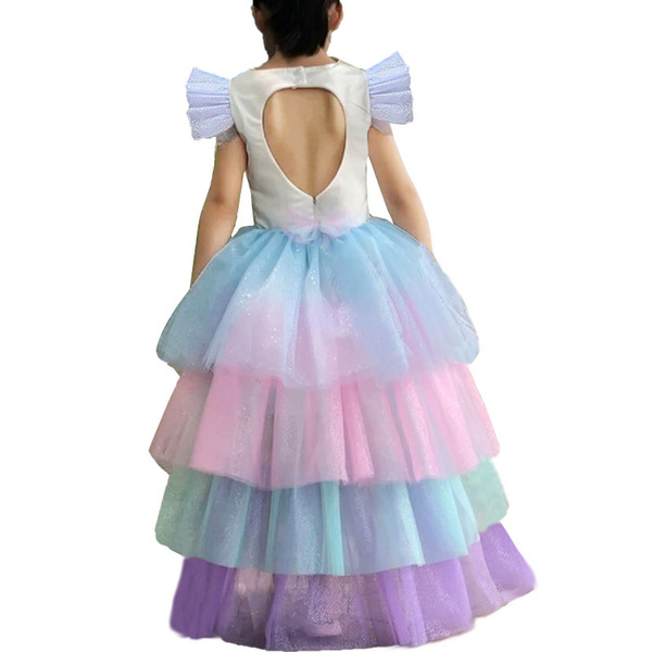 Retail girls unicorn rainbow princess dress kids designer dress detachable cloak cake pleated skirt Halloween costume cosplay clothes50% off