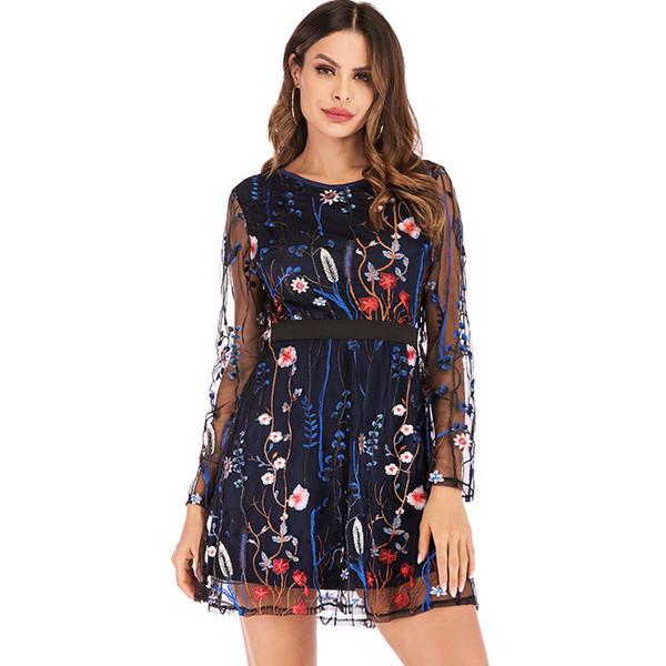 Mujeres sexy vestido de verano bordado floral de malla pura boho mini vestidos fiesta damas moda a través de vestidos ropa de diseñador femenino