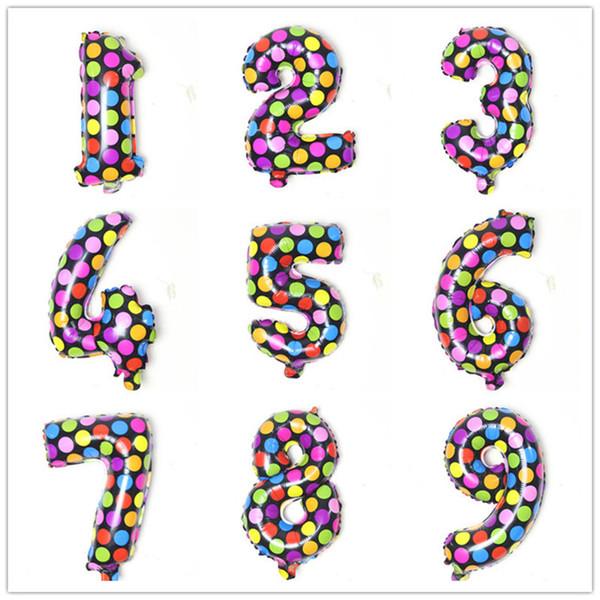 16 pulgadas de colores puntos redondos de revestimiento de aluminio globos niños juguetes fiesta de cumpleaños feliz boda regalos decoraciones CCA11810 500 unids