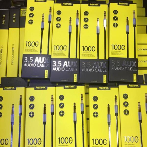 L'oro di estensione Remax 3,5 millimetri Universal Audio cavo maschio a maschio placcato cavo per auto iPhone iPod per cuffie stereo MP3 MP4
