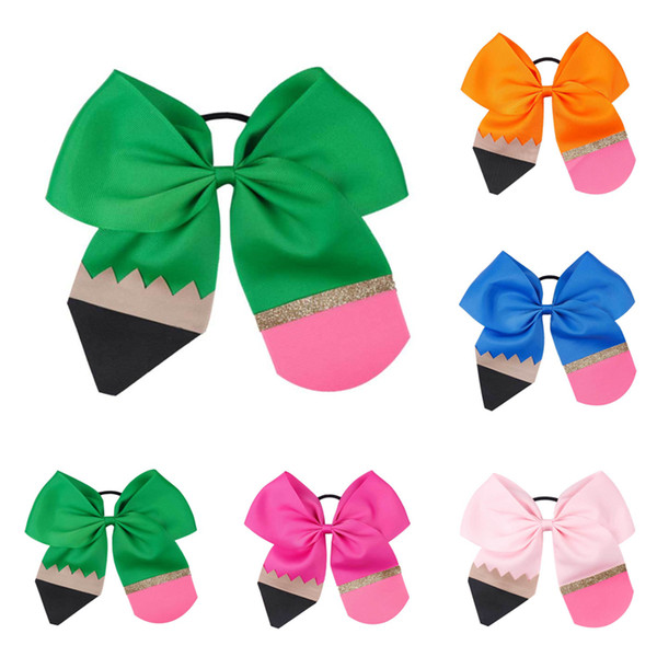 Kids bow hair accessories 6 colors Back To School Girl Handmade Thread hair loop Color Stitching Pencil Floral Headdress hair bows JY620