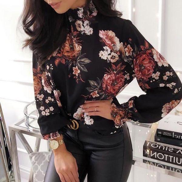 2019 Women Fashion Elegant Office Workwear Chiffon Shirt Female Elastic Cuff Top Allover Floral Print Long Sleeve Blouse J190610