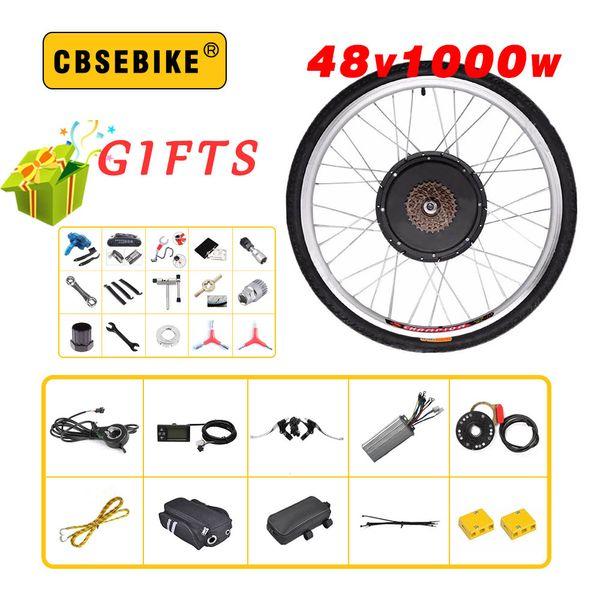"""CBSEBIKE 48V 1000W rear Electric Bike Kit for 20"""" 26"""" 28"""" 700C 29inch Wheel Motor LCD Ebike e bike Conversion"""