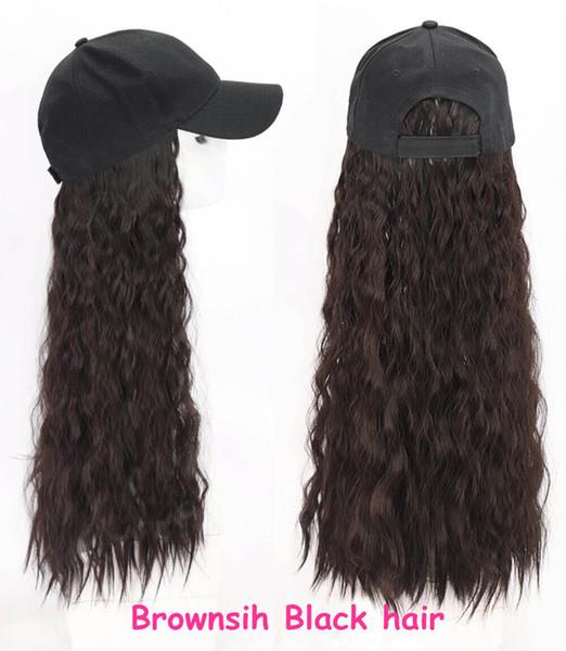 Basebacll marrón sombrero de pelo rizado negro