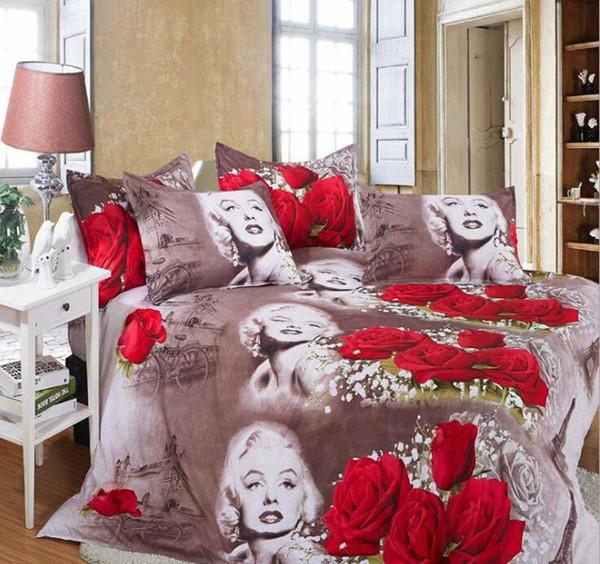 Ensemble de literie 3D Marilyn Monroe Flower Duvet King Ensemble de literie de luxe double Literie Literie Feuille de linge de lit Euro Home Textile