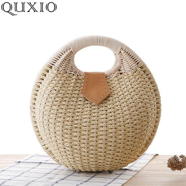 Fashion Handmade Woven Straw Handbags Women 2019 Nuova vacanza estiva Cute femminile Beach Bag signore Casual Messenger Borse PJL032
