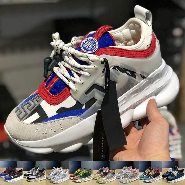 2019 versace Réaction de la chaîne Mode De luxe Hommes Femmes Designer Chaussures Noir Blanc Sport Running Baskets En Cuir Plat Casual Femmes chaussures