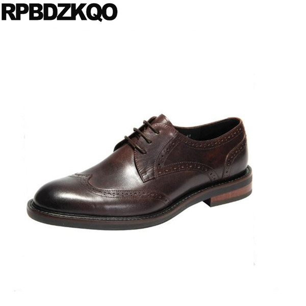 1c8bb058eb055b lace up wedding dress italian black oxfords Italy wingtip brand party men  brown genuine leather shoes