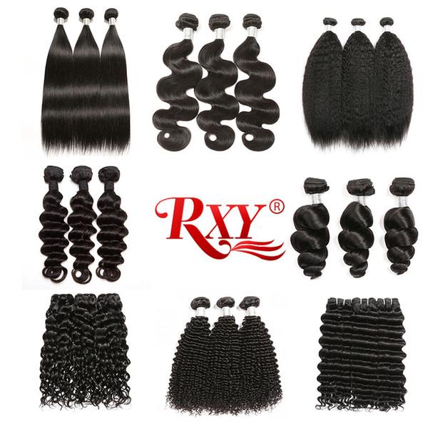 Rxy İnsan Saç 3 Paketler Düz Vücut Dalga Sapıkça Kıvırcık Derin Dalga Gevşek Dalga Gevşek Derin Sapıkça Düz Kıvırcık Saç Brezilyalı Saç demetleri
