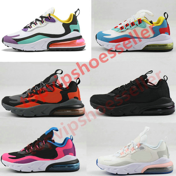 top popular 2020 New 270 React Bauhaus TD Kids Shoes Boy Girls Running Shoes Black White Hyper Bright Violet Toddler Children Sneakers 28-35 2020