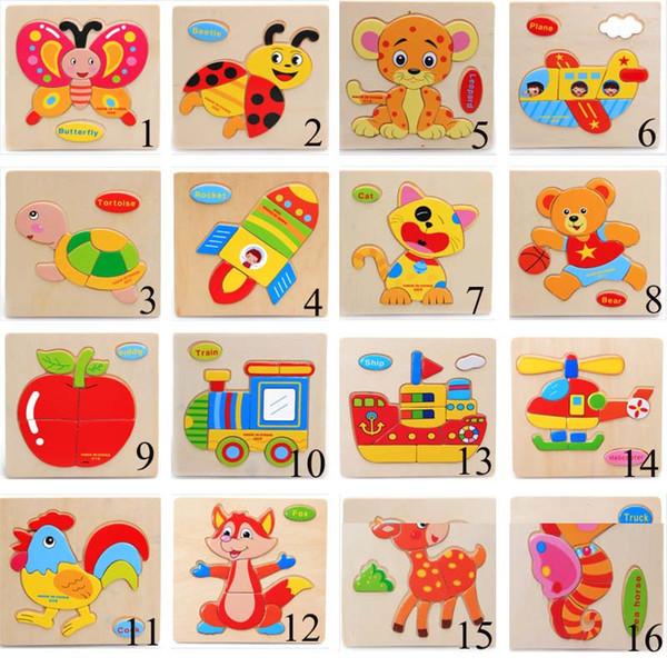 Niños Rompecabezas 3D Rompecabezas Juguetes de madera para niños Rompecabezas de tráfico de animales de dibujos animados Inteligencia Los niños juguetes educativos de entrenamiento temprano del juguete C1