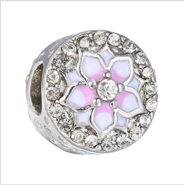Pulseira pandora 925 sterling silver Magnolia Bloom Charme Pálido Cerise Esmalte Rosa Europeu Bead fit Colar 792085PCZ