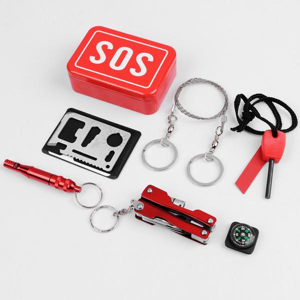 Escursione esterno di campeggio auto Lifesaving Toolbox multi-funzione multipla di emergenza di sopravvivenza di 94 * 65 * 29 (mm) con le istruzioni in inglese