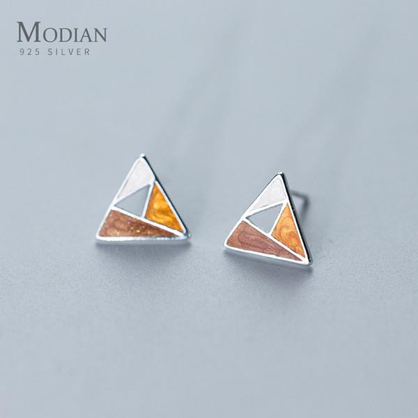 Modian Classique Conception Abstraite Ronde Émail De Mode Boucles D'oreilles Pour Les Femmes Art 925 Sterling Argent Triangle Fine Bijoux Oreille