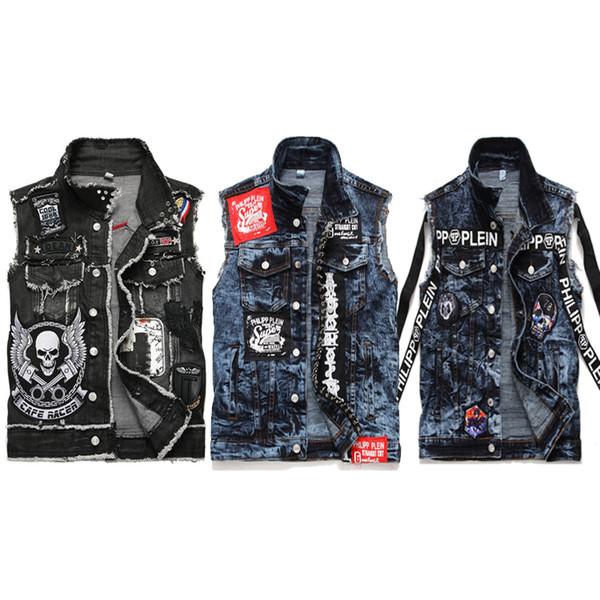 Idopy Fashion Mens Rivet Denim Vest Punk Party Studded Slim Fit Jean Jacket Male Sleeveless Waistcoat For Men Plus Size