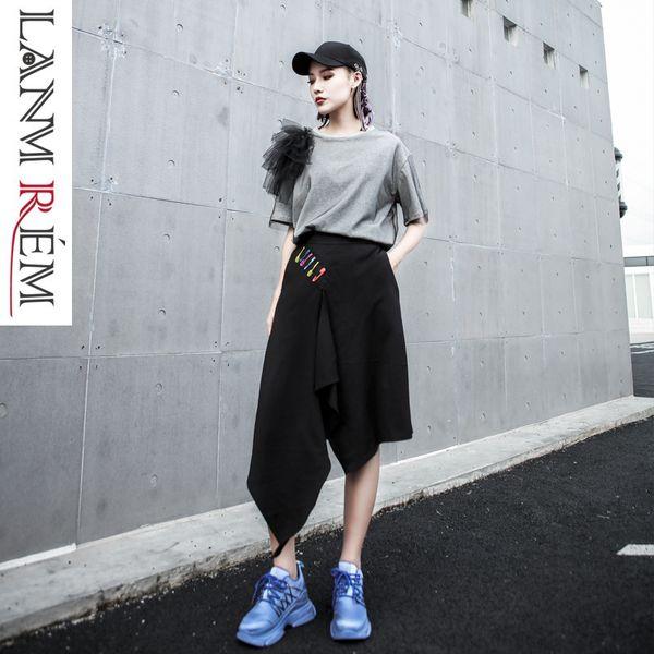 LANMREM 2019 Elastic Waist Black Irregular Knee Length Pants For Woman Pin Decoration Summer Fashion New Loose Trousers YH41701