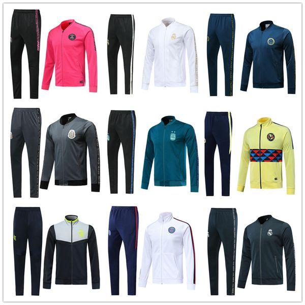 2019 2020 Real Madrid soccer jacket tracksuit PSG football jackets 19 20 Colombia Argentina Mexic soccer tracksuit RONALDO MBAPPE Sweatshirt