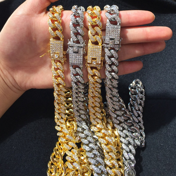 top popular Mens Iced Out Chain Hip Hop Jewelry Necklace Bracelets Rose Gold Silver Miami Cuban Link Chains Necklace 2021