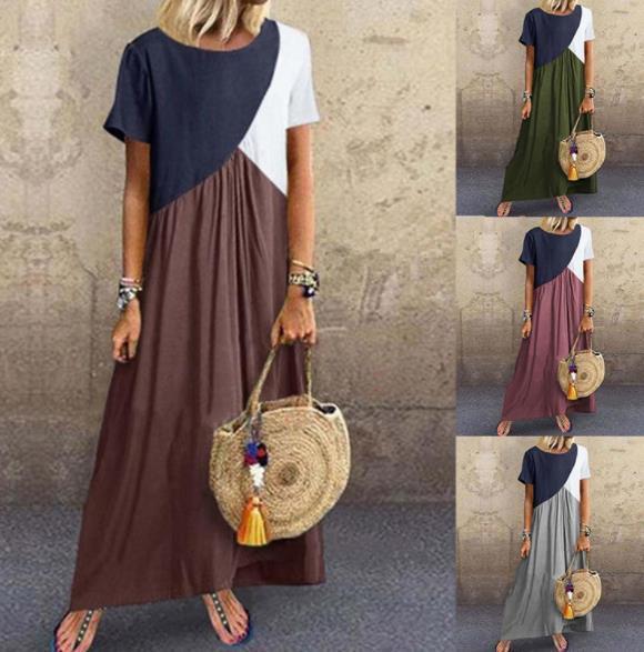 Bayan Yaz Tasarımcı Katı Renk Maxi Elbiseler Ekip Boyun Kısa Kollu Kadın Giyim Geometrik Dikiş Kontrast Rahat Giyim