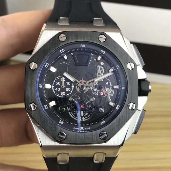 2019 New Fashion Mens Watch di alta qualità in gomma nera al quarzo Orologi da polso 43 millimetri mens orologi sportivi da polso