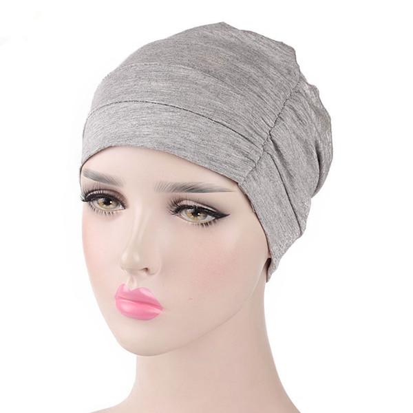 Nuevo para mujer Soft Comfy Chemo y Sleep Turban Hat Liner para el cáncer Pérdida de cabello Algodón Headwear Envoltura para la cabeza Accesorios para el cabello