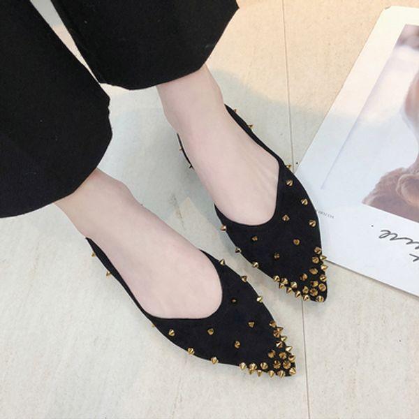 Chaussures femme seule 2019 nouvelle mode en strass souligné rivets en daim rétro fond doux sauvages chaussures de sport