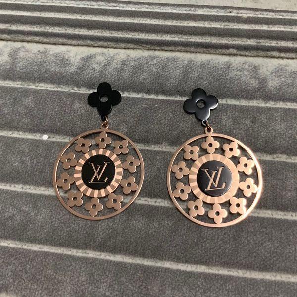best selling Deluxe flower wedding Jewelry 316L Stainless Steel 18K rose gold stamp letter dangle Earrings drop For Women girls