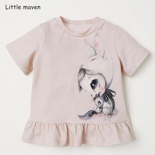 Pouco maven crianças roupas 2019 verão bebê meninas roupas de manga curta tee tops impressão Algodão marca t camisa 51297