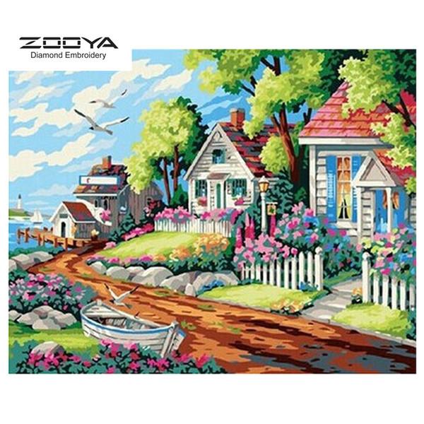 ZOOYA DIY 5D Diamante redondo completo Pintura bordado Diamante Mosaico junto al mar cabina Punto de cruz Decoración para el hogar