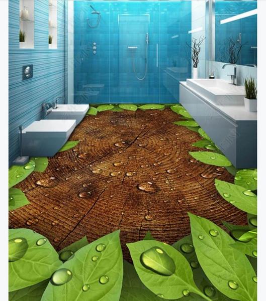 Großhandel Maßgeschneiderte 3D Selbstklebende Boden Malerei Wand Papier 3D  Blätter Bäume Jahresringe Wassertropfen Badezimmer Küche Wasserdicht Boden  ...