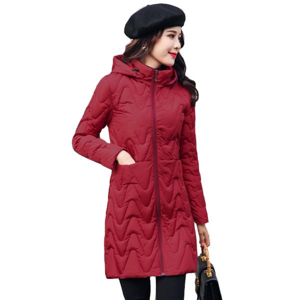 2019 Casual Winterjacke Frauen Mit Kapuze Lang Gepolsterte Frauen Mantel Outwear Herbst Parka Abrigos Mujer Invierno Y190828