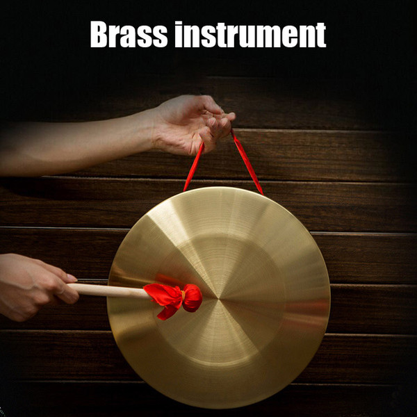 top popular Hand Gong with Wooden Stick Traditional Chinese Folk Musical Instrument Toy for Kids Small Brass Percussion Instruments 9 12 15CM 2021