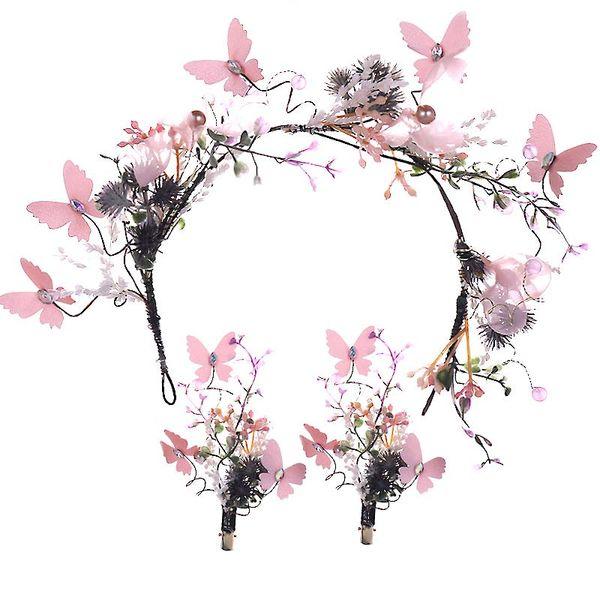 Mädchen Süße Rosa Farbe Stirnband Brautjungfer Hochzeit Blume Simulation Perle Haarschmuck Frauen Glänzende Strass Stirnband