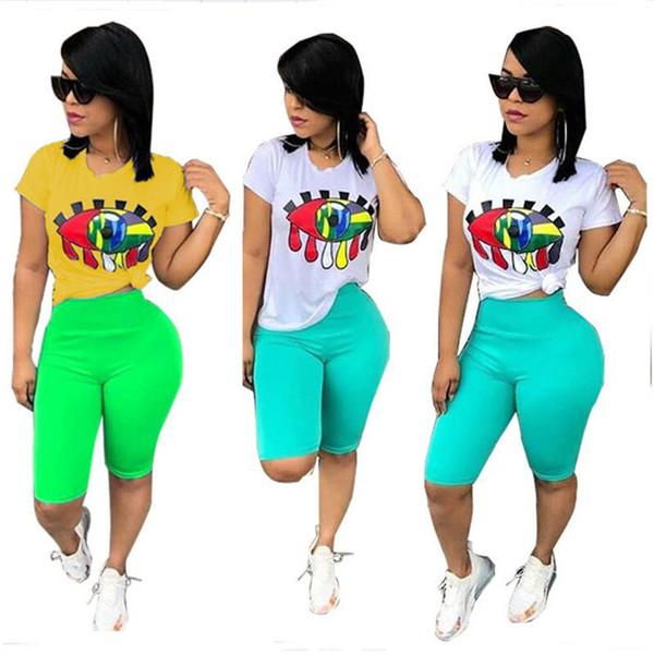 Women Big Eye Print Tracksuit T-Shirt + Shorts Pants 2pcs Set Summer Sport Suit Ladies 2 Pieces Outfits Sportswear Gym Clothes S-XXXL A32802