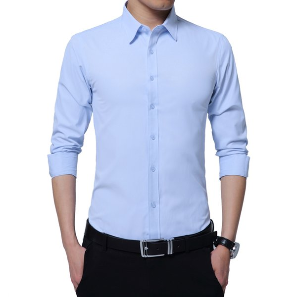 2019 New Arrival Men Shirt Brand Business Shirt Mens Fashion Good Quality Solid Man Slim Fit Shirts Plus Size M-5XL