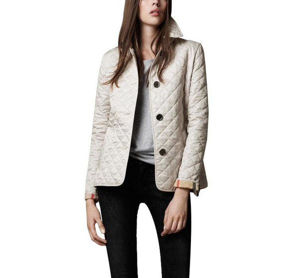 Donne Giacche Plain autunno cappotto del cotone padded cappotto casuale tuta sportiva di modo Plaid Quilting imbottito Parkas