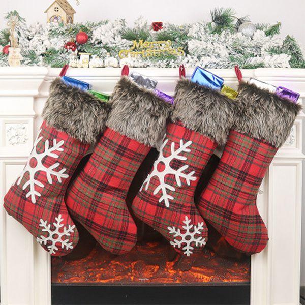 Christmas Stockings Decor Christmas Trees Ornament Party Decorations Santa Christmas Stocking Candy Socks Bags Xmas Gifts Bag ZZA1175