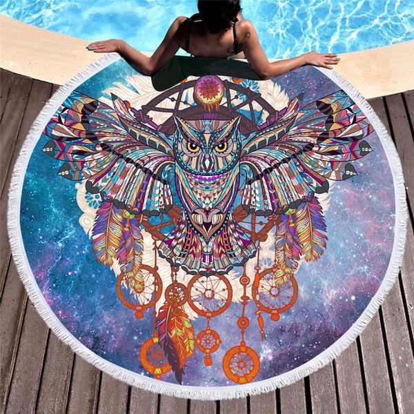 1 pezzo grande telo mare rotondo con nappe per bambini adulti arazzo viola gufo asciugamano in microfibra 150 cm coperta stuoia di yoga