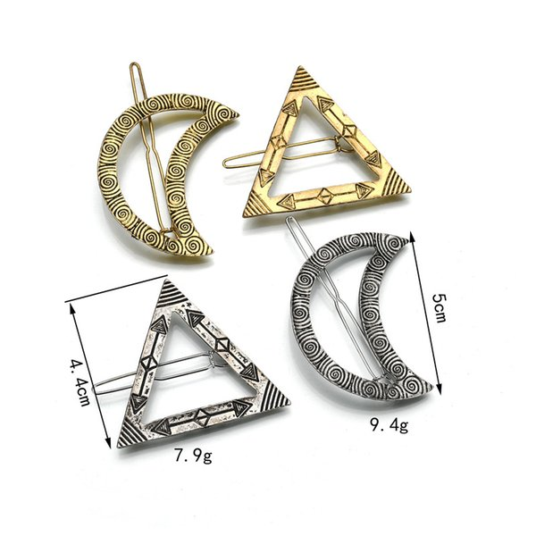2019 New Fashion Vintage Geometric Modeling Triangle Moon Hairpin Jewelry Female Side Clip Hair Accessories H106
