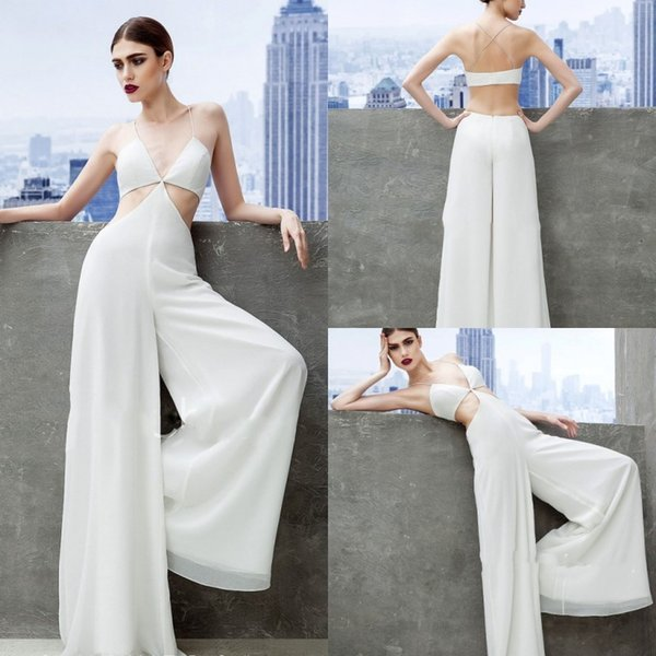 Sexy White Spaghetti Evening Dresses Suits Jumpsuits Backless Cutaway Sizes Chiffon Prom Gowns Plus Size Formal Party Dress Suit