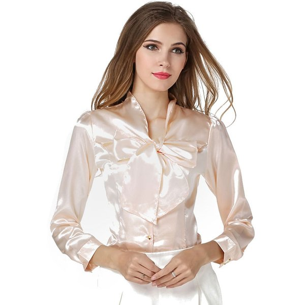 2019 summer new Korean women's chiffon shirt Solid color versatile slim bottoming shirt with bow V-neck