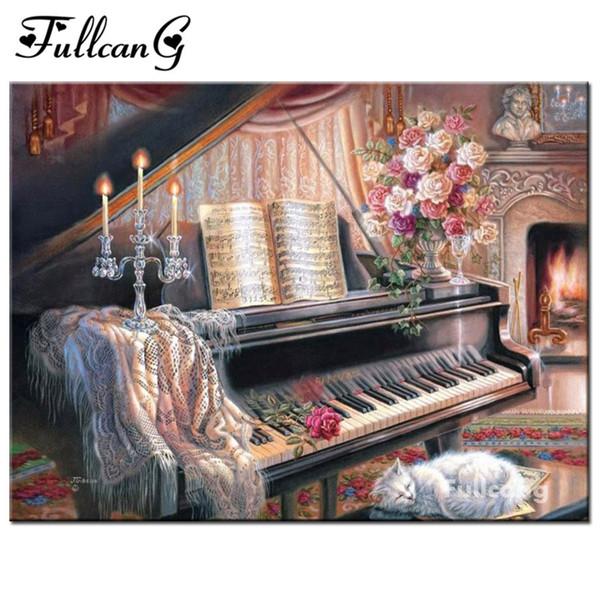 best selling FULLCANG piano family full square needlework diamond embroidery diy 5d diamond painting cross stitch mosaic decorative F239